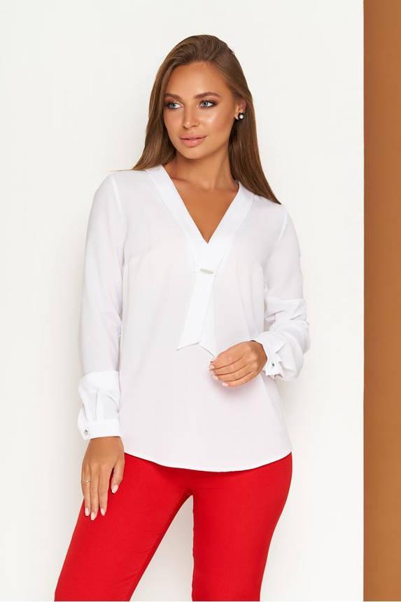 Элегантная белая офисная блузка с завязкой, фото 2