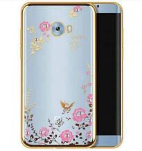 Прозрачный чехол с цветами и стразами для Xiaomi Mi Note 2 с глянцевым бампером
