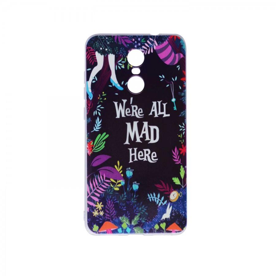"""Тонкий силиконовый чехол """" We're All Mad Here"""" с прозрачными краями для Xiaomi Redmi Pro"""
