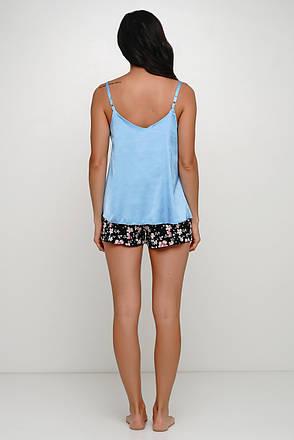 Голубой пижамный комплект шортики и майка, фото 2