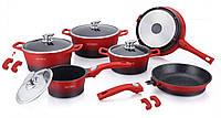 Набор посуды ROYALTY LINE RL ES-2014M красный,с гранитным покрытием