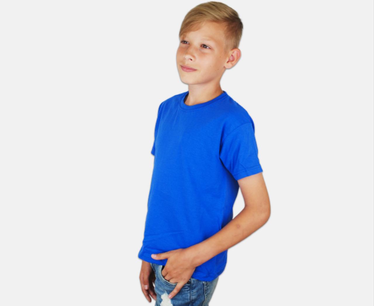Детская Классическая Футболка для Мальчиков Ярко-синяя Fruit of the loom 61-033-51 1-2