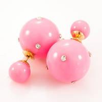 Серьги Диор Dior Нежно розовые со стразами