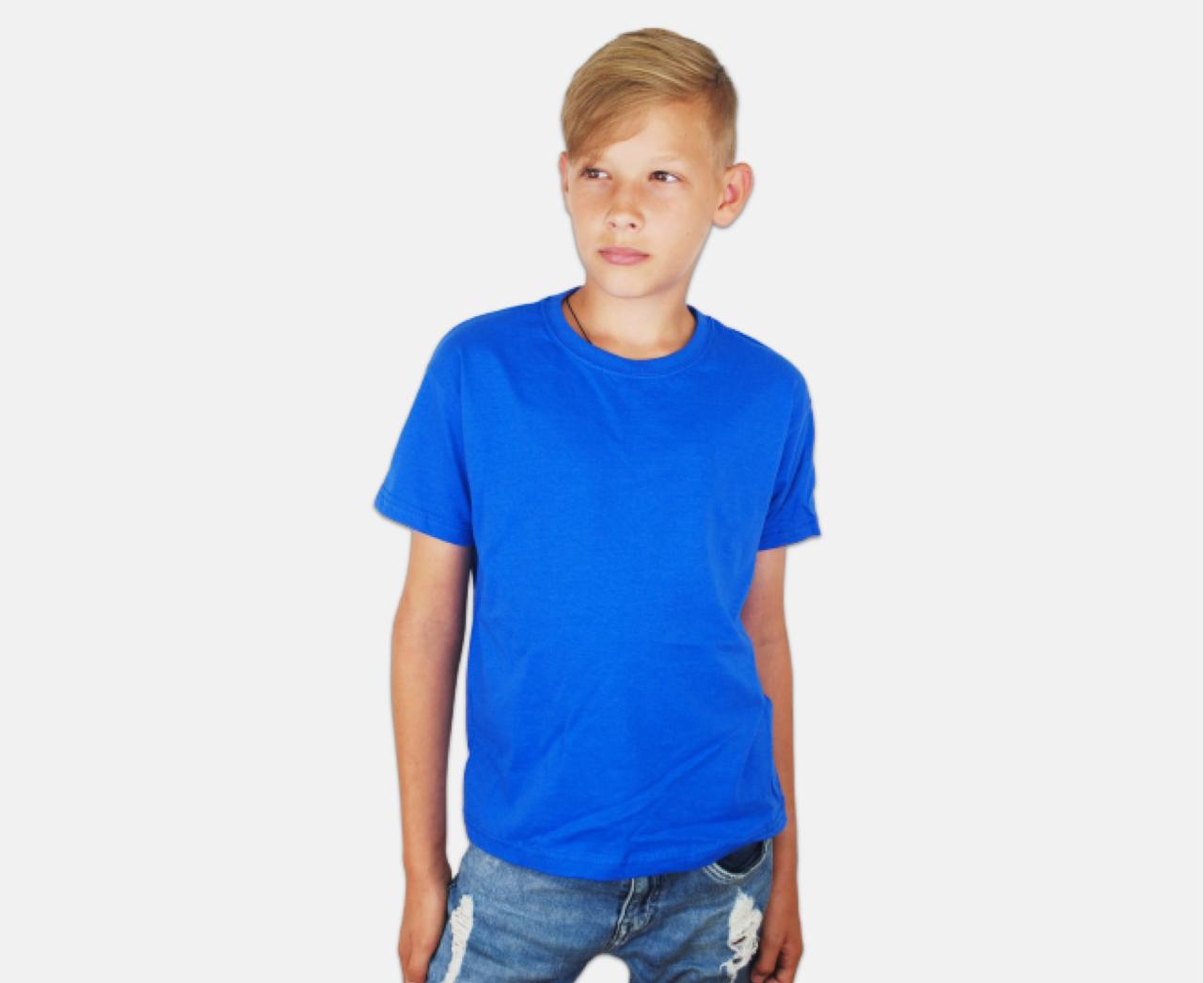 Детская Классическая Футболка для Мальчиков Ярко-синяя Fruit of the loom 61-033-51 3-4