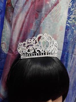 Срібна велика корона тіара з білими каменями гірський кришталь з крапелькою