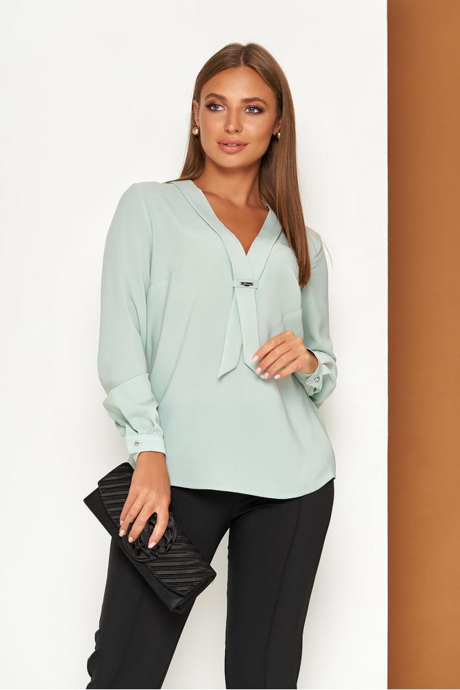 Элегантная офисная блузка с завязкой оливковая