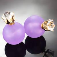 Серьги Диор Dior Сиреневые с камнем