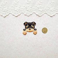 Термонашивка Аппликация для Одежды и Декора Щенок Терьер со Светлыми Лапками 4.5*3.5 см