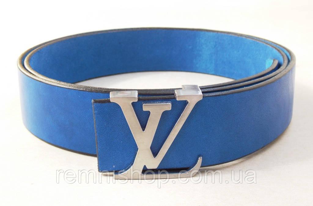 Синий кожаный ремень Louis Vuitton