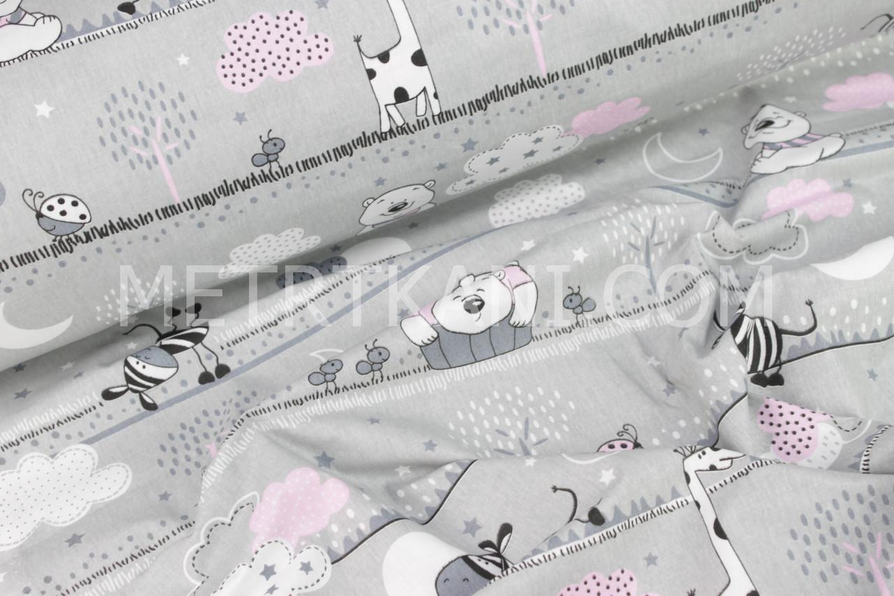 Ткань хлопковая Польша со зверятами в розовых облаках на сером   №730