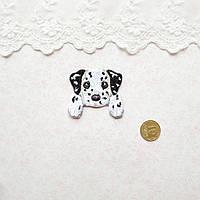 Термонашивка Аппликация для Одежды и Декора  Щенок Долматинец с Лапками 4*4 см