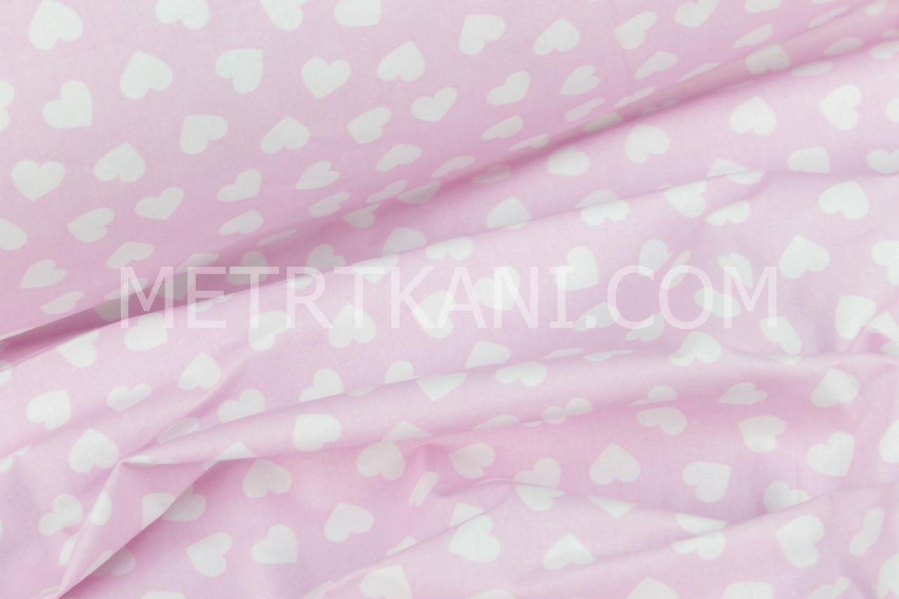 Бавовняна тканина, бязь білі серця на рожевому №396