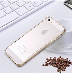 Бампер  накладка для Iphone 5/5S/5SE Металлический противоударный , золотой