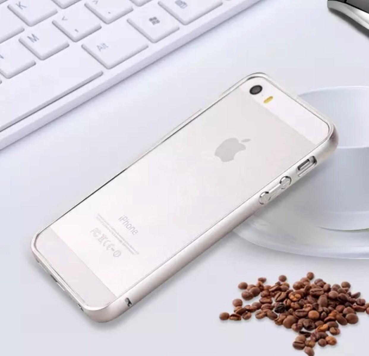 Металлический бампер  для Iphone 5/5S/5SE silver