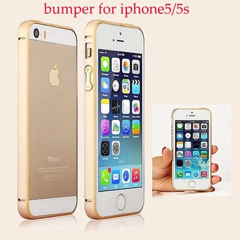 Бампер противоударный для Iphone 5/5S/5SE  алюминиевый, золотой