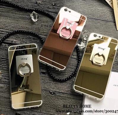 Чехол силиконовый зеркальный для Iphone 5/5S/5SE + кольцо держатель