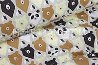 """Детская ткань   """"Мишки-треугольники"""" коричневые и бежевые №842"""