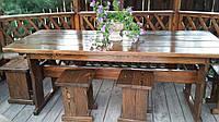 Мебель деревянная для беседки Стол 1800*800 + 4 банкетки 330*330