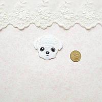 Термонашивка Аппликация для Одежды и Декора Щенок Мальтипу 4*3.5 см