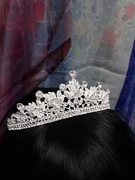 Срібна велика корона тіара з білими каменями гірський кришталь