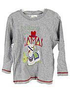 """R3-370156, Футболка с длинным рукавом для девочки"""" No dramas with Llamas"""", , серый-разноцветный"""