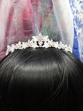 Срібна маленька тонка корона тіара з білими каменями гірський кришталь