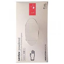 Латексные перчатки SANTEX L (8-9), белые