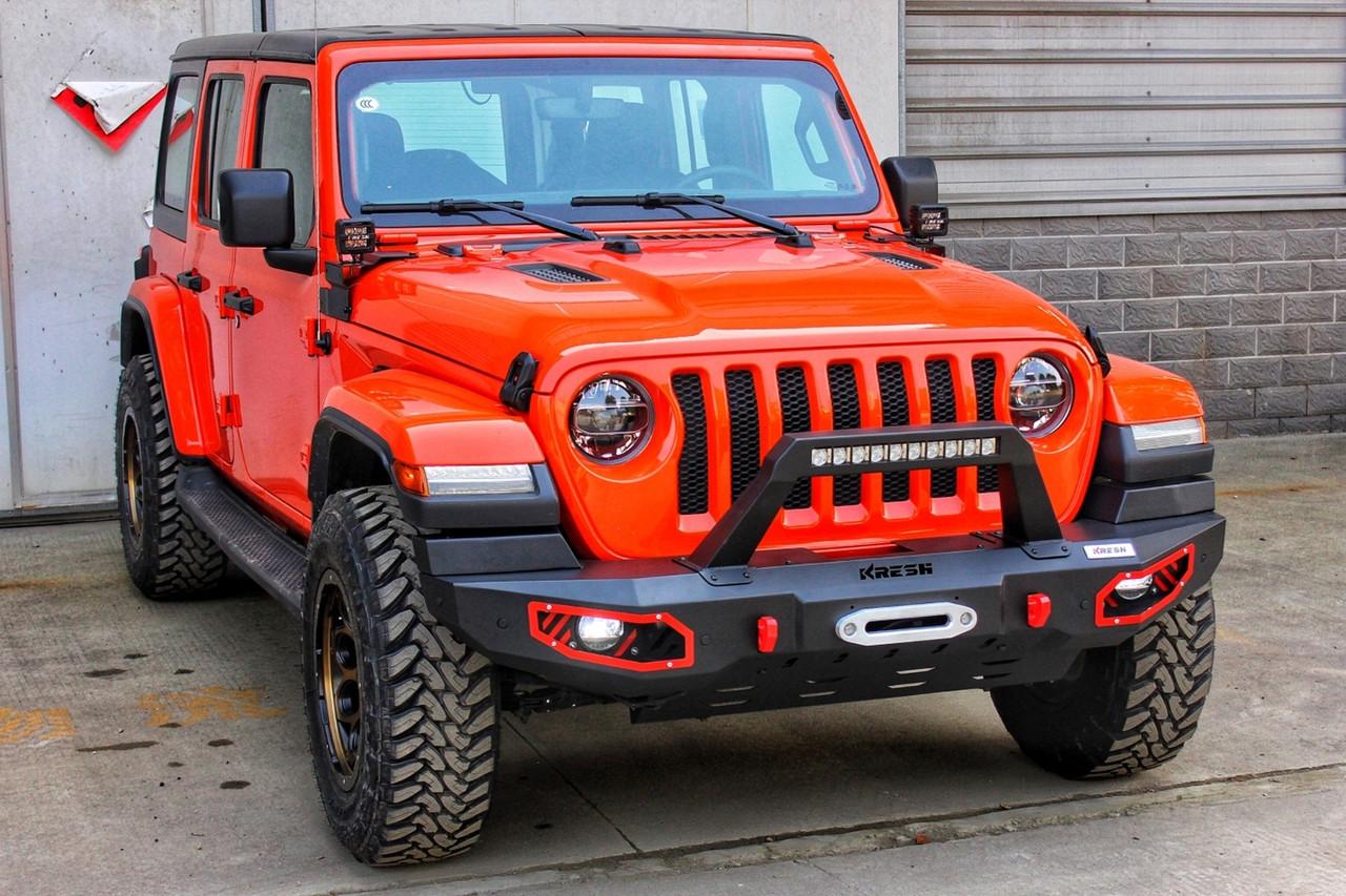 Силовой передний бампер с красными вставками Jeep Wrangler JL