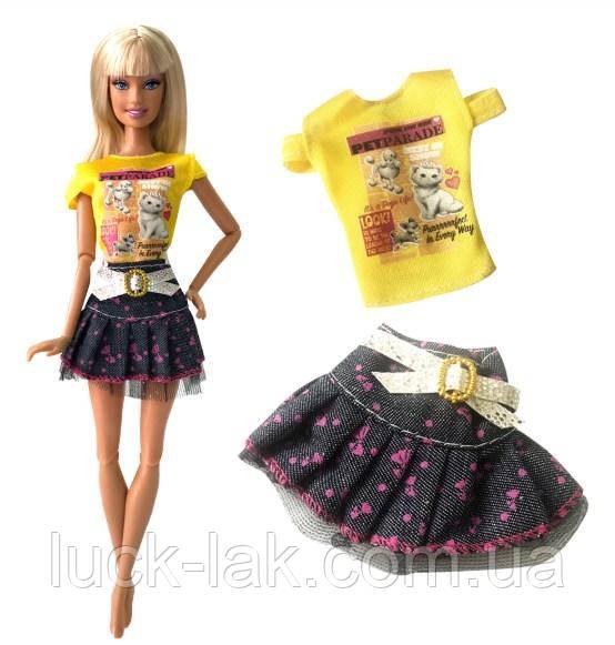Кукольный костюм юбка и майка для куклы Барби