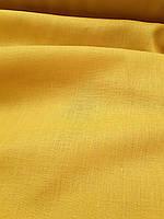 Льняная сорочечная ткань желто - горчичного цвета, фото 1