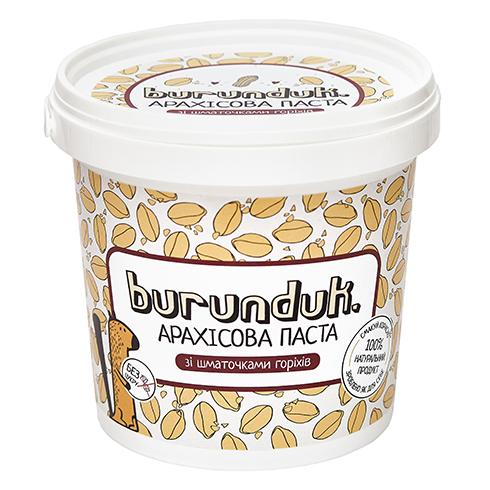 Арахісова паста зі шматочками горіхів (кранч) Burunduk 1кг Україна