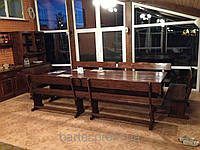 Комплект массивной мебели из дерева 3200х1200 для кафе, дачи