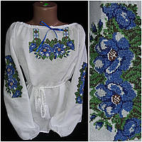 "Блуза с вышивкой ""Два мака"" на домотканке, 4-10 лет, 320/270 (цена за 1 шт. + 50 гр.)"