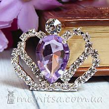 Стразовый декор Корона, 30*36 мм, сиреневый камень