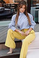 """Блузка женская льняная с широким манжетом размер 42-46 """"AMBRE"""" купить недорого от прямого поставщика"""