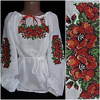 """Нарядная вышитая блузка """"Два мака"""" девочке, домотканое полотно, 4-10 лет, 320/270 (цена за 1 шт. + 50 гр.)"""