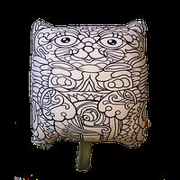 Подушка игрушка антистресс раскраска, полистерольные шарики Кот Зяблик -36*35 см