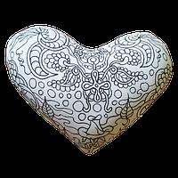 Подушка игрушка антистресс раскраска, полистерольные шарики Сердце -35*30 см