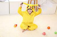 Кигуруми пижама детская Пикачу, рост 100, 110, 120, 130,140 см, фланель (велсофт)