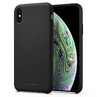 Чехол Spigen для iPhone XS/X Silicone Fit, Black (063CS25651), фото 1