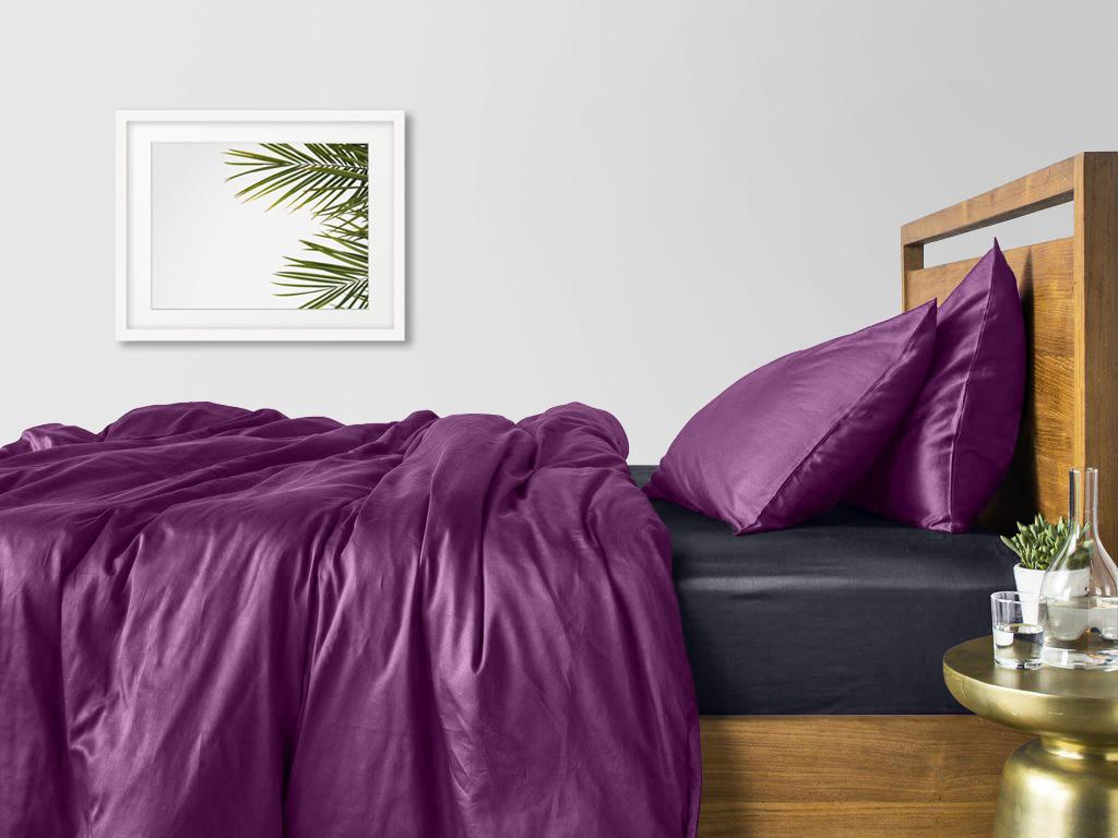 Комплект полуторного постельного белья сатин VIOLET GREY-S
