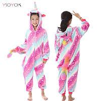 Кигуруми пижама детская Единорог звездный - полосатый, рост 100, 110, 120, 130,140 см, фланель (велсофт)