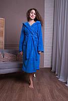 Женский длинный махровый халат с капюшоном на запах