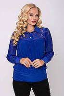 """Блуза больших размеров д\р """"Анна""""  р. 54-60 электрик, фото 1"""