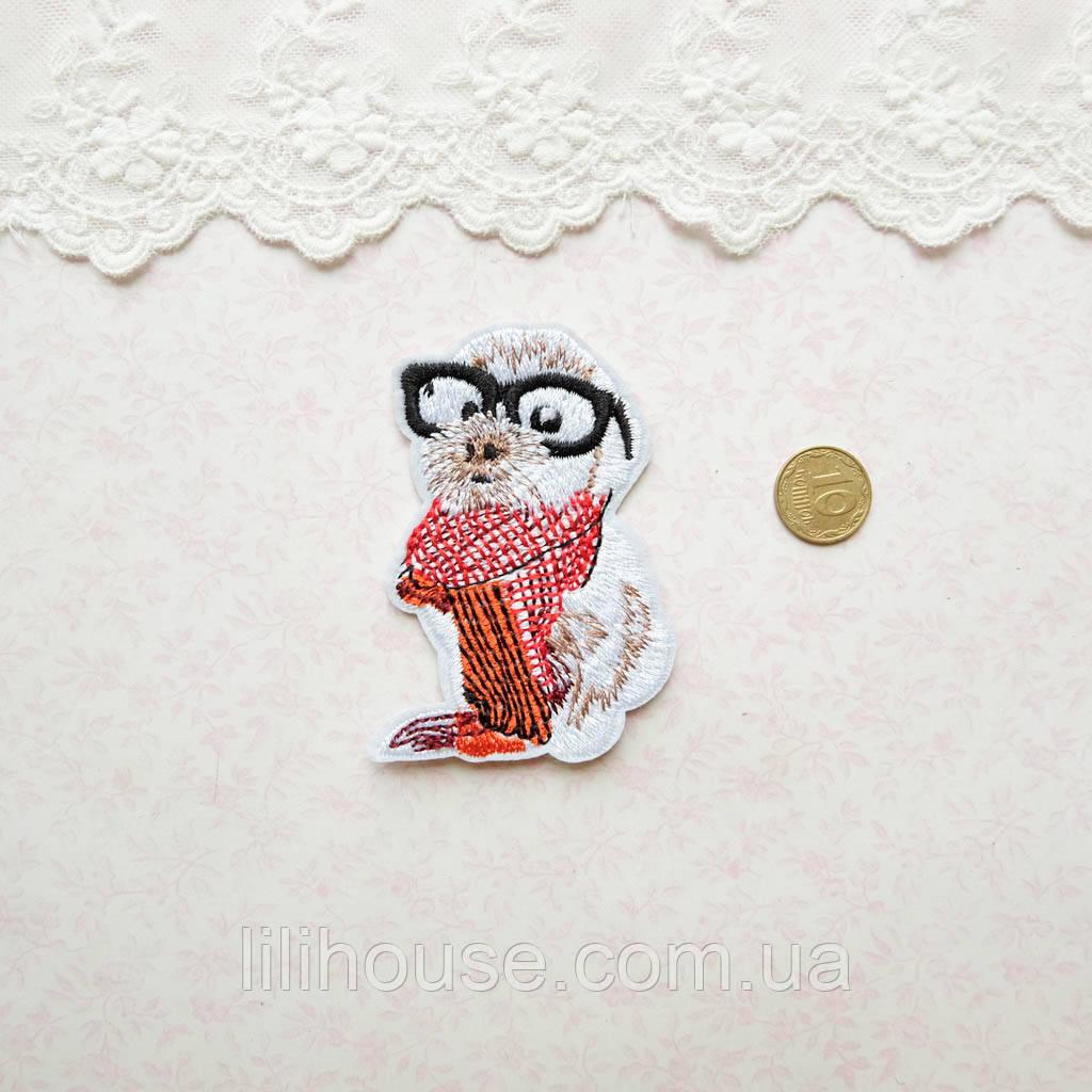 Термонашивка Аппликация для Одежды и Декора Беленький Песик с Шарфом 7*4.5 см