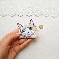 """Термонашивка, аппликация для одежды и декора """"Красочный кот"""" - 6,5*6,5 см"""