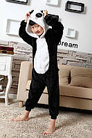 Кигуруми пижама детская Панда, рост 100, 110, 120, 130,140 см, фланель (велсофт)