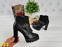 38 р. Ботинки женские деми черные на высоком каблуке,демисезонные, весенние,осенние,весна,осень, фото 1