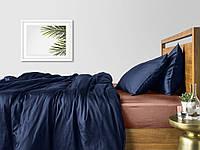 Комплект полуторного постельного белья сатин DARK BLUE BEIGE-S