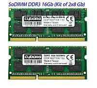 DDR3 16Gb оперативна пам'ять для ноутбука SoDIMM 1600MHz (kit 8x2) 16384MB PC3-12800 1.5 v (CD3F1600T11/16)